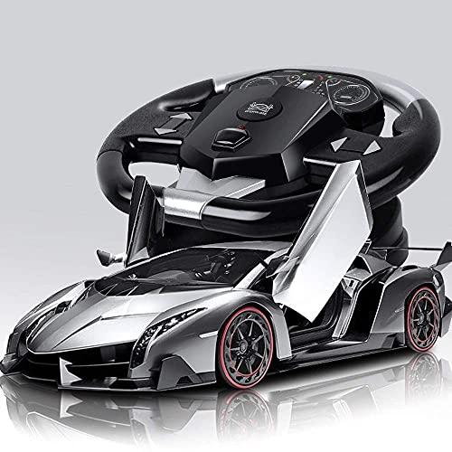 Decoración del hogar Cool High Simulation RC Sports Car 1:10 Scale Large Recargable Electric Toy Vehicle 4WD High Speed Professional Control remoto Coche de carreras con luz LED (Color: Silver Si