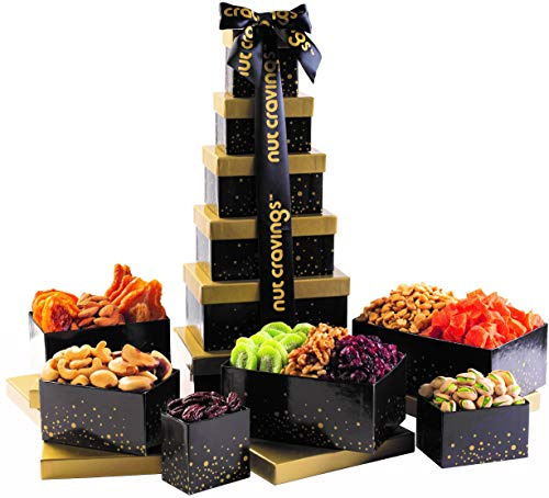Gourmet Gift Basket, Nut & Dried Fruit Tower Box (12 Variety) - Healthy Food Edible Arrangement for Easter, Mothers & Fathers Day, Family Birthday Tray, Snack Platter for Women & Men - Prime Delivery