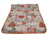 Centesimo Web Shop Tappeto GOMMATO in 7 Misure - Multiuso PASSATOIA Tappetino Cucina Fantasia Shabby Chic Cuori - - 55x240 cm Arancio