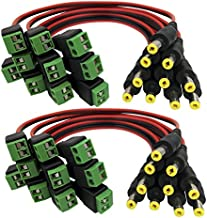 Igreeman 20 Pack Male DC Power Pigtail 18 AWG Cable Upgraded with Jack Socket Terminal 2.1mm Male Connectors for Home Security Surveillance Camera and Party Strip Led Lighting