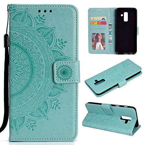 SNOW COLOR Schutzhülle Galaxy A6+ (A6 Plus) Brieftasche, Flip Case aus Polyurethan, [Standfunktion] mit Kartenfächern und Magnetverschluss für Samsung Galaxy A6+ 2018 -