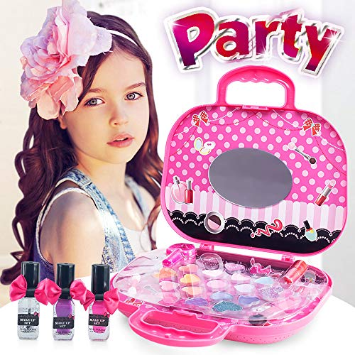 Elfe Boutique Pretend Play Toys Makeup Kit for Girls Lovely Pink Princess's Makeup Bag with 23 Cosmetics and with Cute Cosmetic Bag