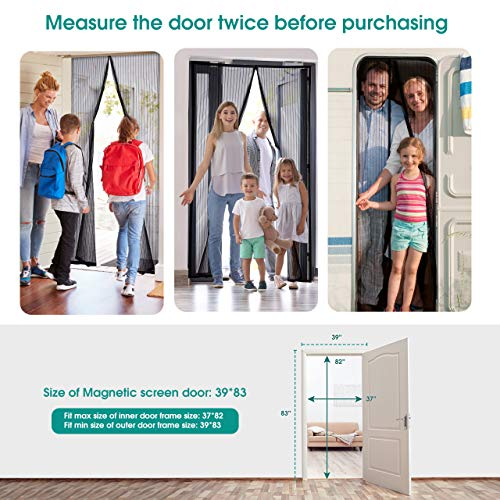 Homitt Magnetic Screen Door with Heavy Duty Mesh Curtain and Full Frame Hook&Loop, Hands Free,  Pet...