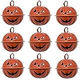 Maydahui 20PCS Pumpkin Shaped 1.6 Inches Jingle Bells Jack O Lantern Face Design for Halloween Tree Decor Pet Cat Dog Necklace Collar and DIY Crafts