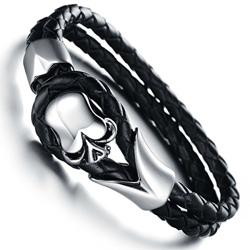 JewelryWe Stainless Steel Gothic Skull Leather Biker Men's Bracelet, Colour Black Silver (with Gift Bag)