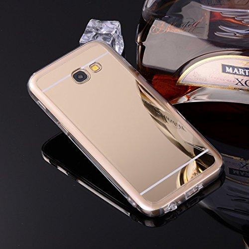 Sycode Coque Galaxy A3 2017,Galaxy A3 2017 Silicone Housse,Ultra Mince Doux Coque en Effet Miroir pour Samsung Galaxy A3 2017-Or