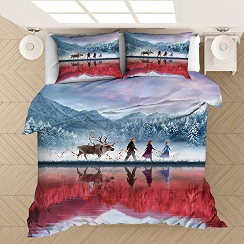 YZHY Cartoon Anime Frozen Baby Kids Bedding Set,100% Microfiber Disney Elsa & Anna Duvet Cover with Pillowcases,for Kids Girls Christmas Decor (C,140X210)