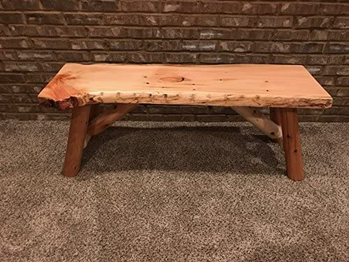 Rustic Log Bench Pine and Limited time trial price Live Virginia Beach Mall Unfinished Edge Cedar 4'