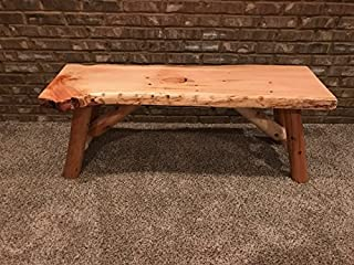 Rustic Log Bench Pine and Cedar with Live Edge Furniture (3', Indoor Clear Lacquer)