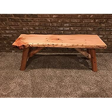 Rustic Log Bench Pine and Cedar Live Edge (4', Unfinished)