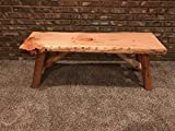 Rustic Log Bench Pine and Cedar with Live Edge Furniture (4', Outdoor Clear Thompson's)