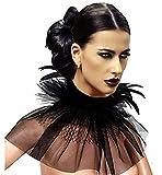 KELAND Frauen Viktorianischen Natürlichen Feder Tüll Halskette Kragen Wickelkragen Halloween Bib Schal (Schwarz)