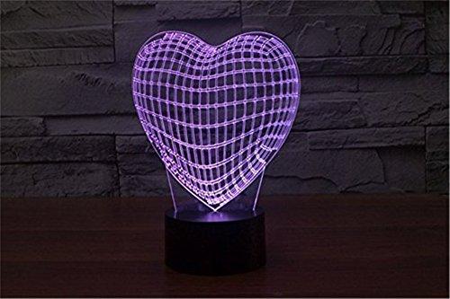 Trade® 3D acrylique Amour Coeur Forme 7 couleur ändernde Amour Cadeau Chambre de bébé Décor éclairage Touch LED Nuit Lampe Lumière