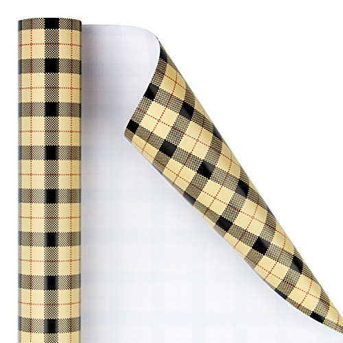 RUSPEPA Wrapping Paper Roll - Scottish plaid Pattern, Ideal for Wedding, Birthday, Baby Shower, Parties, Mother's Day, and Holiday - 30 inches x 32.8 feet Per Roll - Plaid - Camel