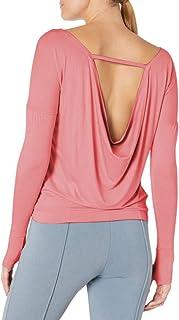 Bestisun Women's Draped Open Back Long Sleeve Yoga Top Workout Sport Tee Shirt