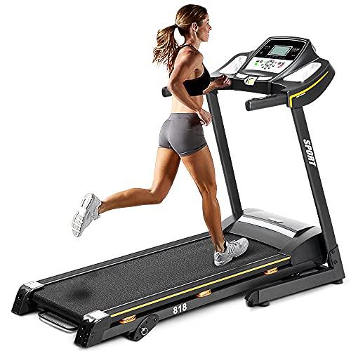 Foldable Treadmills for Home Folding Electric Treadmill Motorized Running Machine with Manual Incline and Hydraulic Rod Mechanism Cardio Training w/Wheels, Safety Key,EKG Grip Pulse Sensor
