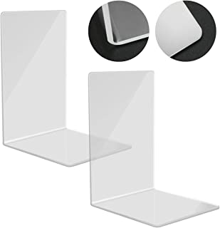 Kuqqi 1 Pair 2 Pcs Clear Acrylic Bookends Book Organizer Small Bookshelves Acrylic Ends Clear Book Ends for Bedroom Office...