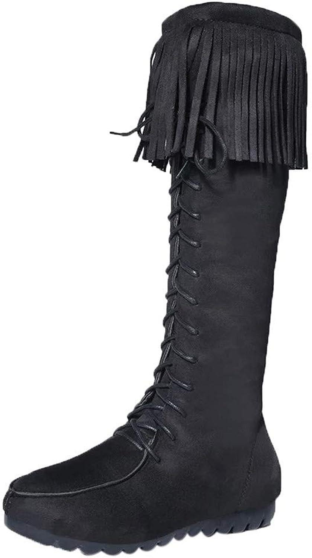 JaHGDU Women's shoes Platform Lace-Up Fashion Soft Solid color Cool Black Elegant Vinage The Knee Non-Slip Round Toe Martin Snow Boots