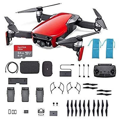 DJI Mavic Air, Red Portable Quadcopter Drone combo with 64G SDCard, Extra propellers, Cinch Sack