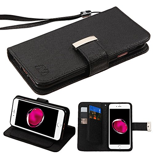 Case+Stylus Wallet Fits Apple iPhone 7 Plus/8 Plus Mybat 3-Layer Purse/Clutch with Extra Card Slots D'Lux Fabric MyJacket with Button Closure - Black