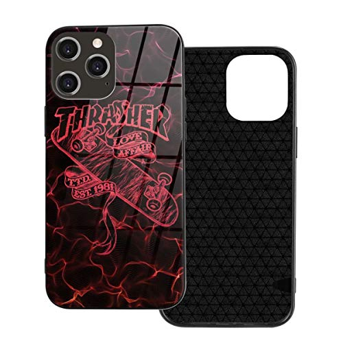 Thra-sh-er Flame Skate Boarding iPhone 12/12 Pro/12 Pro Max /12 Mini Case,Ultra Slim Thin Glossy Soft TPU Rubber Gel Anti-Scratch Shock Absorption Protective Phone Cover