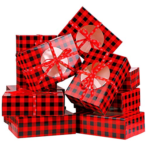 Aneco 12 Pack Red and Black Plaid Design Christmas Cookie Boxes Present Candy Treat Boxes Xmas Gift Bags For Gift Giving Christmas Decorations