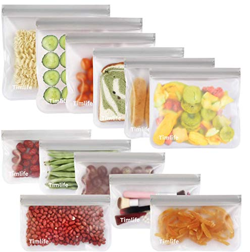 sherry Reusable Food Storage Bags,12 Pack Reusable Snack Bags Bread Box Set (6 Reusable Snack Bags 4 Sandwich Bags 2 Reusable Lunch Bags)