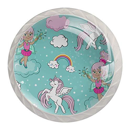 Tirador de manijas de cajón para el hogar, cocina, tocador, armario-Hada, un, unicornio, y, un, arco iris