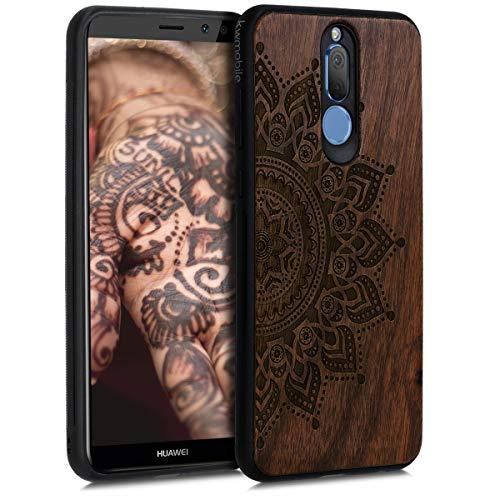 kwmobile Carcasa Compatible con Huawei Mate 10 Lite - Funda de Madera de Nogal Sol Naciente marrón Oscuro