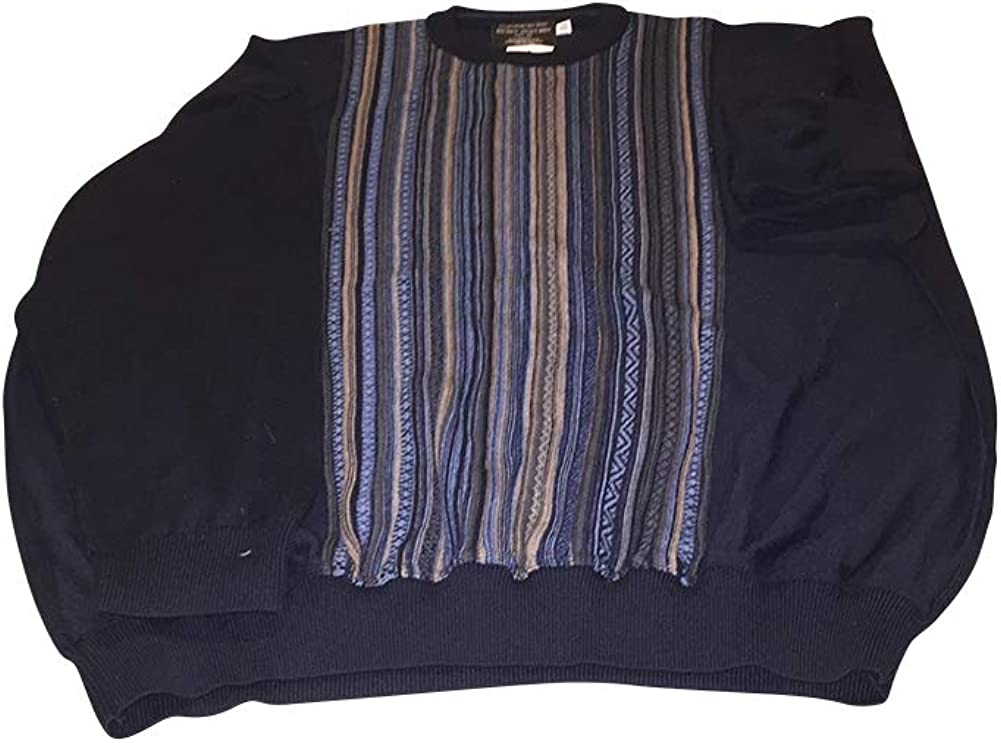 Big and Tall Fancy Wool Blend Crewneck Pullover Sweater Fine Knit Made in Canada