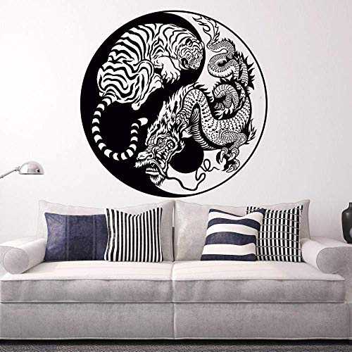 Muurstickers verborgen draak hurken tijger Vinyl muursticker Aziatische mythologie stijl poster huisdecoratie Yin Yang Vinyl kunst 57 * 57cm