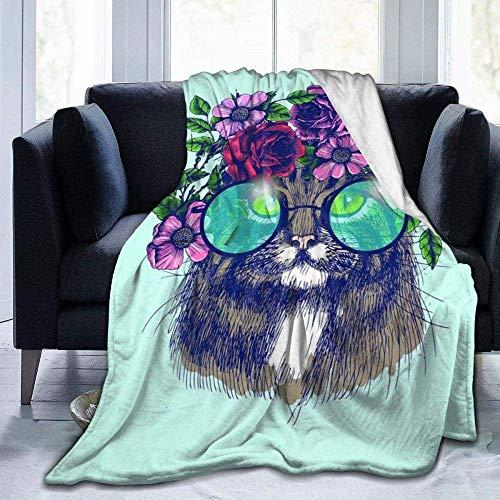 Manta de felpa, diseño de gato, guirnalda de flores y mariposas, ligera, supersuave, cálida, cómoda, manta de forro polar para sofá, cama, sofá, silla, 152 x 127 cm