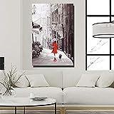 YuanMinglu Paris Street View Affiche Murale Romantique Français Street View Décoratif Toile Peinture Image Fille Étreignant Chien sans Cadre peinture40x60 cm