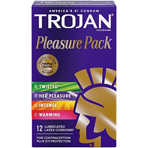 Trojan Pleasure Variety Pack Lubricated Condoms - 12 Count