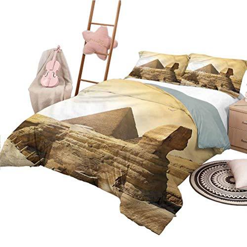 Nomorer Juego de edredón con sábanas, tamaño Queen, Antiguo, Ligero, para Todas Las Estaciones, Colcha, pirámides egipcias