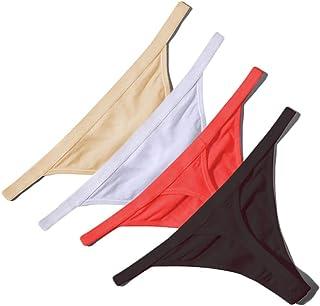 LLF 4 Pcs Sexy Women Cotton G String Thongs Low Waist Seamless Female Underpants Comfortable Ladies Underwear Lingerie