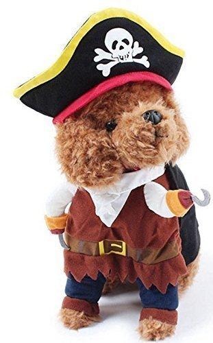 Fancy Me Animale Domestico Maschio Femmina Cane O Gatto con Finto Braccia Halloween Carnevale Cane Show Vestito Costume Completo Small- XL - Pirata, Small