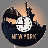 Vinile Orologio Da Parete New York Città LED Cambia Colore Record Vinile Orologi Creativo Regalo Selezione