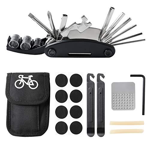 ECHOAN Fahrrad-Multitool, 16-in-1 Fahrrad Reparatur Werkzeug Sets, Mountainbikes Aufbewahrungstasche,Reifenflickzeug