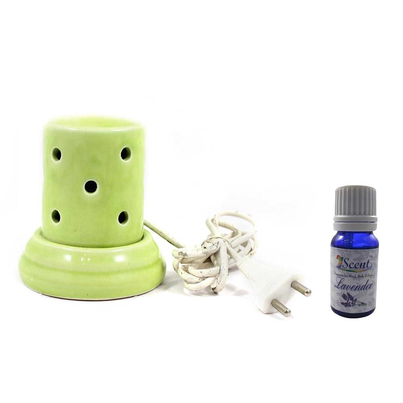 モディッシュ認めるヤング家庭装飾定期的に使用する汚染されていない手作りセラミックエスニック電気アロマディフューザーオイルバーナージャスミンフレグランスオイル|良質緑色の電気アロマテラピー香油暖かい数量1