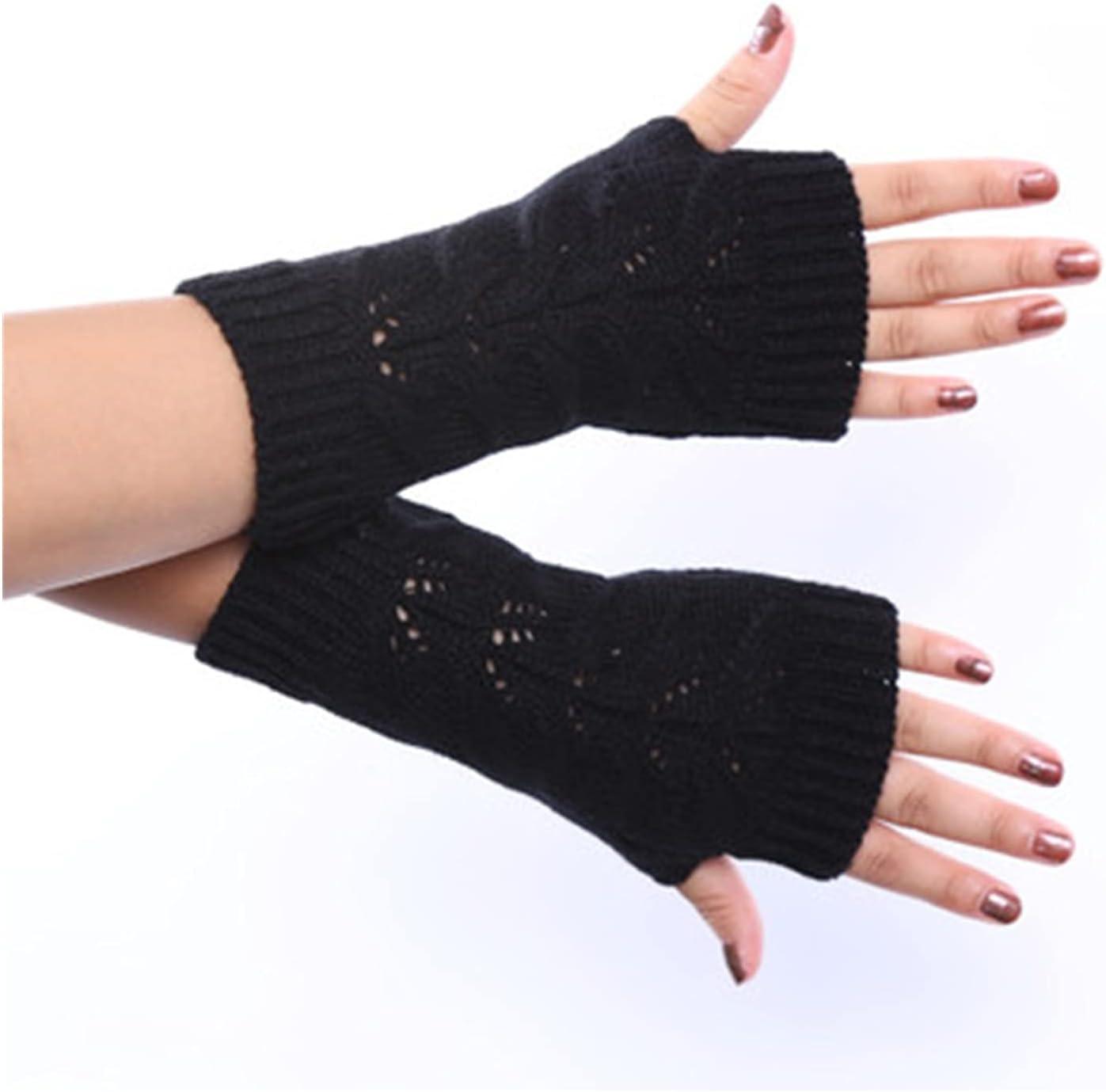 YSJJSQZ Winter Gloves Fashion Women Soft Wool Elastic Knit Twist Hollow Thicken Warm Mittens Unisex Winter Half Finger Driving Gloves (Color : Black, Gloves Size : 20cm)