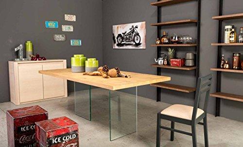 Bois & Design Table salon cuisine en chêne de 180 cm et pieds en verre trempé