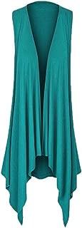 FIRERO Womens Casuasl Solid Draped Irregular Hem Open Cardigan Top Blouse