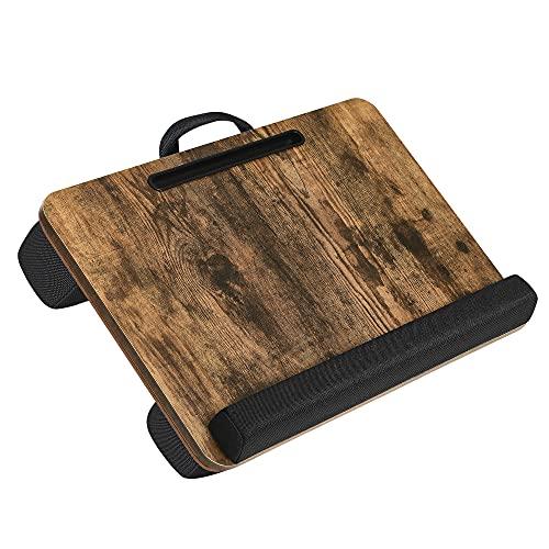 SONGMICS Laptopkissen für Bett, Laptoptisch, Laptopunterlage, mit Griff, gepolsterter Unterlage, mit Rille für Handy & Tablet, 55 x 37 x 12 cm (L x B x H), vintagebraun LLD108B01
