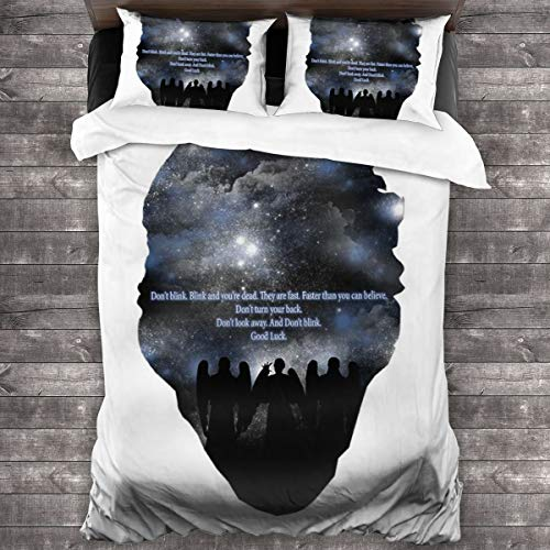 KUKHKU The Angels Dont Blink Doctor Who Space Silhouette 3 Pieces Bedding Set Duvet Cover 86'x70', Decorative 3 Piece Bedding Set With 2 Pillow Shams