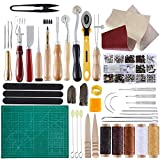 BUTUZE Complete Leather Craft Tool Sets 42 PCS DIY Craft Supplies for Beginner-Hand Sewing Tools for...