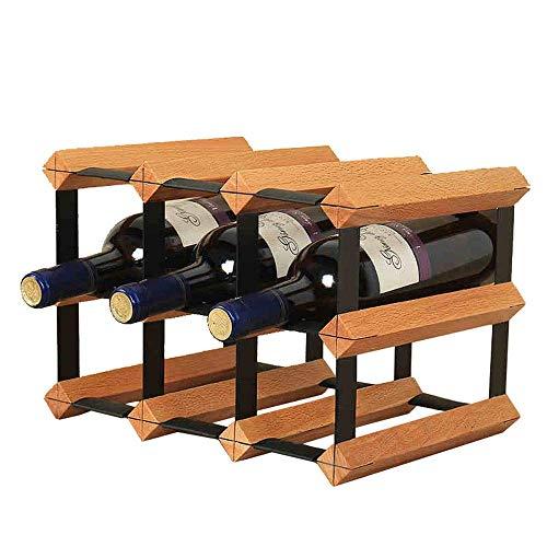 TIN-YAEN Stackable 6-Bottle Tabletop Wine Rack Countertop Or Cabinet Wine Bottle Holder Table Top Wine Storage and Stand Holder Storage Stand (Color : Brown, Size : 22.7x23.5x32.2cm) Wine Rack