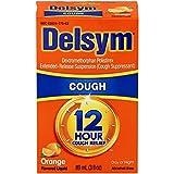 Delsym 12 Hour Cough Relief Liquid- Day Or Night, Orange Flavor Cough Medicine With Dextromethorphan Helps Quiet Cough By Suppressing Cough Reflex, 3 oz.