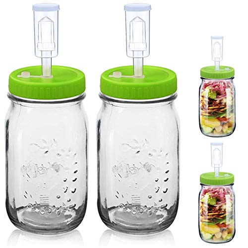 Fermentation Jars Kit - Included 2 Wide Mouth 36Oz Mason Jars, 2 Airlocks & Plastic Lids kit, Used to Make Sauerkraut, Kimchi, Pickles, Fermented Probiotic Foods, etc (Mason Jars Kit, Green Lid)