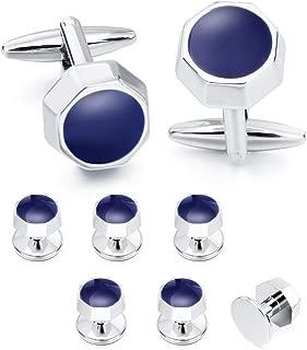 HAWSON Cufflinks and Studs for Men - Men Fashion Tuxedo Shirt Silver Cufflinks and Studs Set for Regular Weeding Business Accessories